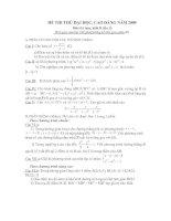 đế và đáp án thi thử khối B09 môn toán