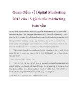 Quan điểm về digital marketing 2013 của 15 giám đốc marketing toàn cầu
