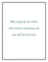 Hãy mang lại cho chiến dịch content marketing của bạn một hơi thở mới
