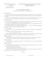 ĐỀ THI CHỌN HỌC SINH GIỎI TỈNH LỚP 9 THCS NĂM 2010-2011 MÔN SINH HỌC - SỞ GIÁO DỤC VÀ ĐÀO TẠO NGHỆ AN