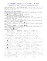 ÐỀ THI THỬ ĐẠI HỌC, CAO ĐẲNG KHỐI A, B - 2012 Môn thi: HÓA HỌC – Mã đề 420