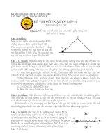 Đề thi OLYMPIC môn vật lý truyền thống 30/4/2007 lần XIII TẠI Quốc Học-Huế