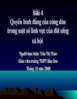 Bai 4: Quyen binh dang cua cong dan trong mot so linh vuc cua doi song xa hoi