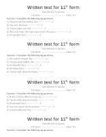 Written test 15mins ( Sau U15)