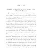 LỐI SỐNG CỦA SINH VIÊN VIỆT NAM HIỆN NAY, THỰC TRẠNG VÀ KIẾN NGHỊ