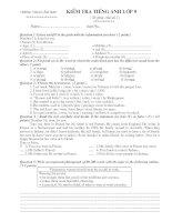 Bài kiểm tra số 1 anh lớp 9 (mới)