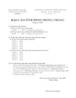 Báo cáo tháng 3/2009 TH Hòa Thành