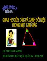 Tiết 47 Quan hệ giữa góc và cạnh đối diện trong tam giác