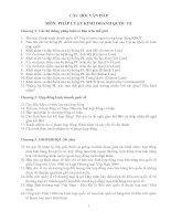 CÂU HỎI VẤN ĐÁP MÔN: PHÁP LUẬT KINH DOANH QUỐC TẾ