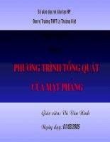 Tiết 39: Phương trình tổng quát của mặt phẳng - bai giảng nhất cụm  thủy nguyên - 2005
