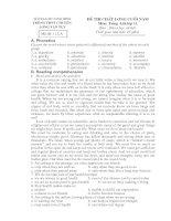 đề thi chất lượng đầu năm lớp 12 nâng cao