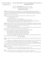 đề và đáp án chọn ĐT QG Nghệ An 2007 ngày 2