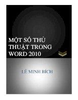 MỘT SỐ THỦ THUẬT TRONG WORD 2010