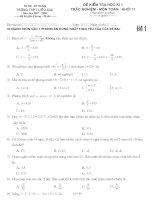 Đề kiểm tra học kì 1 - Toán 11 trắc nghiệm