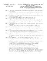 Đề thi và đáp án - HSG lớp 11 môn sinh