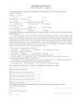 Đề thi Tiếng Anh HK1 và đáp án lớp 7 (Đề 1)
