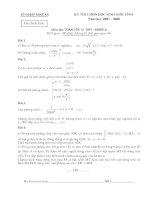 Đề thi HSG tỉnh Bảng A môn toán học