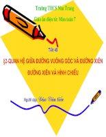 Chương III - Bài 2: Quan hệ giữa đường vuông góc và đường xiên, đường xiên và hình chiếu