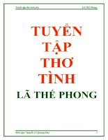 Tuyển tập thơ tình - Lã Thế Phong