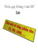 Chia một số thập phân cho: 10, 100, 1000...