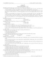 TRẮC NGHIỆM SINH 11 MỚI CHƯỚNG IV