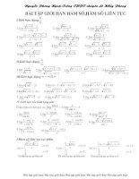 Bài tập giới hạn hàm số và hàm sô liên tục