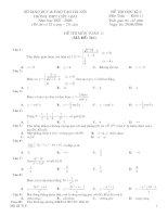 Đề kiểm tra học kì 2 - Toán 11 trắc nghiệm+Đáp án