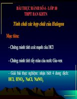 Bài thực hành về các tính chất của Halogen