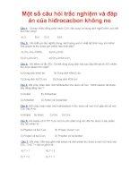 Một số câu hỏi trắc nghiệm và đáp án của hiđrocacbon không no