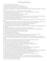 Một số câu hỏi ôn HSG 11 và đáp án