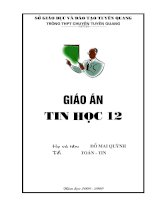 Giáo án Tin học 12 từ tiết 1 đến tiêt 7
