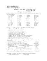 Đề thi HSG Tiếng Anh 9 - THCS Minh Hạc