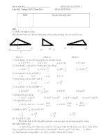 Kiểm tra Hình học 9 chương I: Hệ thức lượng trong tam giác vuông
