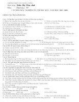 Câu hỏi trắc nghiệm sinh học 10 cơ bản