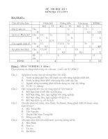 Đề thi học kì 1 và đáp án Môn Địa lý lớp 9 (mới) Đề số 11