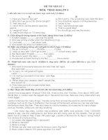 Đề thi và đáp án Môn Tiếng Anh Lớp 9 HKI (mới nhất)