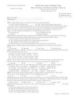 Đề thi thử TNTHPT của BỘ ban KHXH