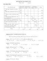 Đề thi Toán HK1 và đáp án lớp 6 (Đề 5)