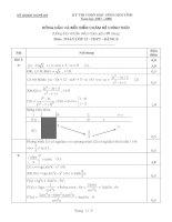 Đáp án đề thi HSG tỉnh Bảng B môn toán học