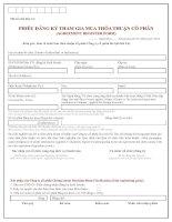 Phiếu đăng ký tham gia mua thỏa thuận cổ phần