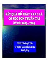 Kết quả mổ thay van 2 lá cơ học đơn thuần tại BVCR: 2003 - 2004