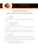 Thông tin Seminar- SEO- công cụ quảng bá website
