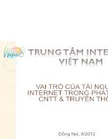 vai trò của tài nguyên internet trong phát triển CNTT và