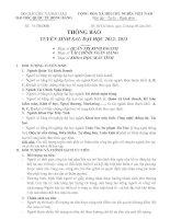 thong bao tuyen sinh Thac si KHMT, TCNH, QTKD 2012