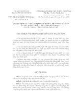 Quyết định về việc ban hành quy chế về chế độ làm việc của văn phòng tiếp công dân thành phố