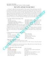 Thông báo tuyển sinh năm 2012 trường cao đẳng kĩ thuật công nghiệp