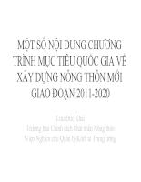 Một số nội dung chương trình mục tiêu quốc gia về xây dựng nông thôn mới giai đoạn 2011- 2020