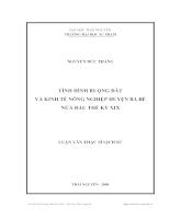 Tình hình ruộng đất và kinh tế nông nghiệp huyện ba bể nửa đầu thế kỷ xix
