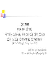 Chỉ thị của ban bí thư về tăng cường sự lãnh đạo của đảng đối với công tác của hội chữ thập đỏ Việt nam