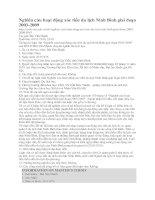 Nghiên cứu hoạt động xúc tiến du lịch Ninh Bình giai đoạn 2003-2009